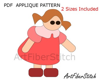 Girl PDF Applique Template Pattern - available for instant download from ArtFiberStitch