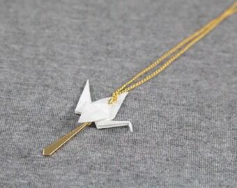 Necklace White crane origami - Origami Japanese paper