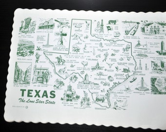 """Set Of Twenty. Vintage Restaurant Placemat """"Tourist Maps"""" from 1960. Texas """"The Lone Star State"""". 10x14"""