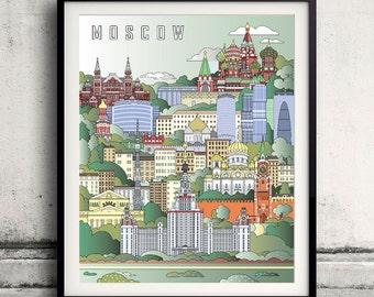 Moscow City Poster - Fine Art Print Landmarks skyline Poster Gift Illustration Artistic Colorful Landmarks - SKU 1931