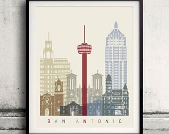 San Antonio skyline poster - Fine Art Print Landmarks skyline Poster Gift Illustration Artistic Colorful Landmarks - SKU 1968
