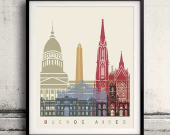 Buenos Aires skyline poster - Fine Art Print Landmarks skyline Poster Gift Illustration Artistic Colorful Landmarks - SKU 1474