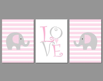 Baby Girl - Nursery Art Set - Elephants Pink Stripes - LOVE - Available in Different Colors - Baby Gift