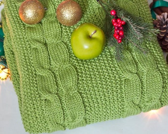 FREE SHIPPING knitted blanket with plait pattern