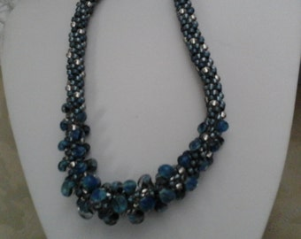Kumohimo  in Blue &  Gray tones