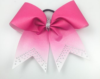 Cheer Bows Pink - Pink Bows - Ombre Cheer Bows - Cheer Bows Cheap - Rhinestone Bows  - Volleyball Bows - Softball Bows - Breast Cancer Bows