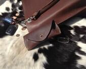 Ready to Ship, Hand-Sewn, Hand-Cut, Handmade Horween Retriver Brown Leather Eyeglass Case