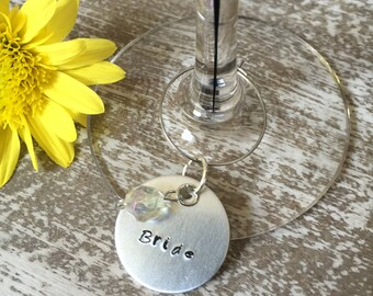Set of 4 Custom Wedding Party Wine Charms Hand Stamped