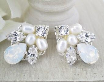 White opal post earring, Swarovski rhinestone wedding earring, Simple crystal bridal earring