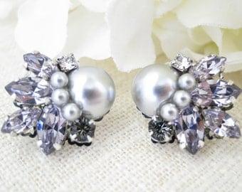 Purple crystal earrings, Purple wedding jewelry, Crystal and pearl bridal earrings, Swarovski rhinestone post earrings, Bridesmaid earrings