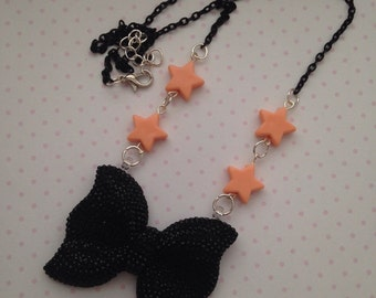 RESERVED Black Bow Necklace