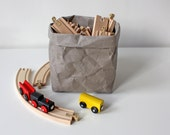 Paper bag storage in Grey, made from washable paper, bin, basket, toy storage, planter, hamper, container