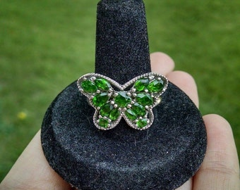 Genuine Chrome Diopside Butterfly Ring .925 Sterling Silver