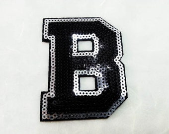 Alphabet Letter B Iron on Patch - Black Sequin B, Glitter Applique Embroidered Iron on Patch - Size 5.6x7.9 cm#T1