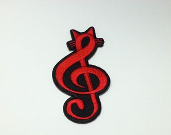 Treble Clef Music Note cartoon Iron on Patch - Treble Clef Music Note Applique Embroidered Iron on Patch  Size 4.2x8.4 cm