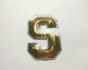 Gold Alphabet Letter S Iron on Patch - Gold Sequin S, Glitter Applique Embroidered Iron on Patch - Size 5.2x7.5 cm#T2
