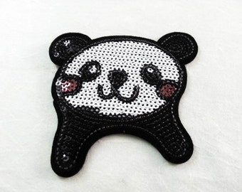 Panda Sequin Iron on Patch (L) - Sequin Panda, Glitter,Sparkly Applique Iron on Patch - Size 8.4x8.8 cm