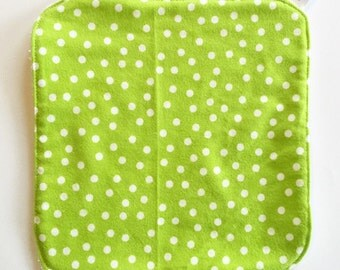 Green and white Polka dots Bath washer / Soft flannel / Bath time fun / Handmade