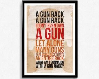 A Gun Rack? // Wayne's World, Wayne & Garth, Wayne Campbell, She Will Be Mine, Geek Print, Movie Quote, Mike Myers, Dana Carvey, Typography