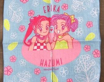 Vintage child's Handkerchief 1994 Passion Girls Erika and Hazumi