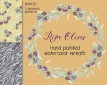 Watercolor wreath of hand painted olives and foliage; watercolor clip art - instant download