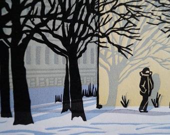 Urban Winter Original Linocut Relief Print