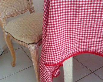 Vintage RED GINGHAM CHECK Tablecloth French Country Nordic Prairie Cottage Chic