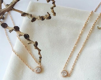 little rose gold filled diamond necklace, delicate collarbone necklace,perfect gift for her,valentines gifts