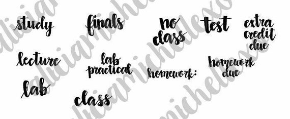 Printable modern calligraphy college school related words to