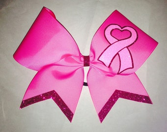 Breast Cancer and Cheer 1 color glitter with dots & mascot