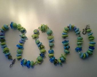 Moretti glass necklace handmade lampwork beads