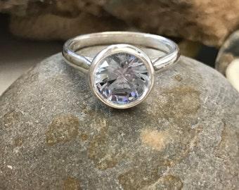 Aquamarine Ring, Aquamarine Engagement Ring, Aquamarine Bezel Ring, Silver Aquamarine Ring, Gold Aquamarine Ring, March Birthstone
