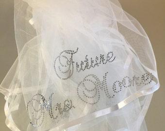 Veil RHINESTONE Monogrammed Bachelorette Party Personalized In RHINESTONES
