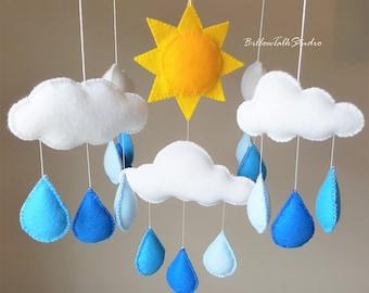 Baby Mobile, Baby Crib Mobile, Rain Drop Mobile, Sun Mobile, Cloud Mobile, Blue Rain Drop Mobile, Baby Nursery Mobile, Felt Mobile