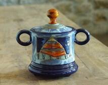Ceramic Sugar Bowl with Lid, Pottery Sugar Bowl. Handmade Clay Sugar Bowl, Sugar Box, Sugar Keeper, Blue and Orange Sugar Bowl