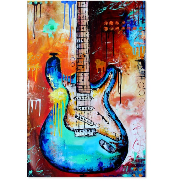 print guitar painting abstract electric fender stratocaster