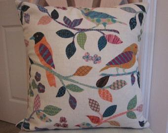 16x16 Bird Pillow Cover, Multi-color Bird Pillow Cover, Primitive look bird Pillow Cover, Linen look Pillow Cover