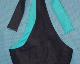 sling-black denim with aqua fleece