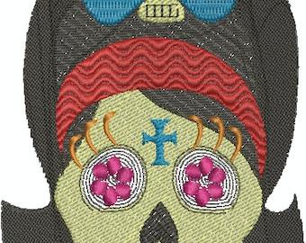 Pinup Sugar Skull - Digital Embroidery Design