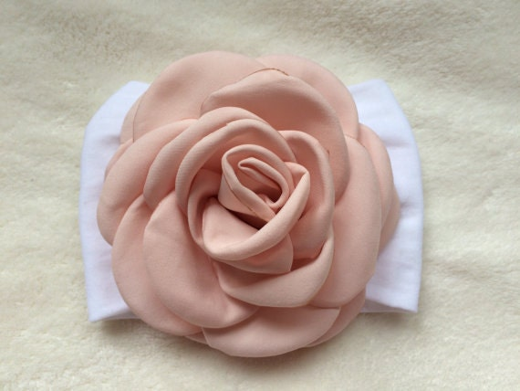 Big rose flower baby headwrap pink toddler bow by ...