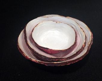 Set of 3 Ceramic Nesting Bowls   Red   Brown   White   Full of Color   Functional Art   Decorative Art   Ceramic Art   Fine Art