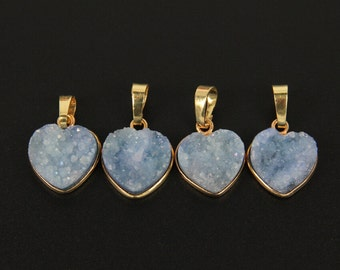 Valentine Day Lover Gift,Light Blue Druzy Geode Agate Charm Necklace,24K Gold Plated Edged Sliced Pendant Finding