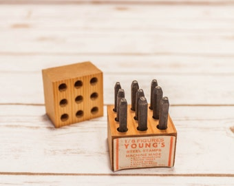 Vintage Young's Steel Stamps 1/8 Figures Numbers Machine Made Young Brothers Muscatine Iowa Wood Metal Jewelry Stamp