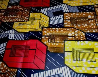 Ghana Africa Wax Print, 1/2 yard cut - cotton