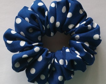 Blue /white polka dot Scrunchie