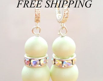 SWAROVSKI 925 silver Pearl  earrings, swarovski pastel green earrings. SWAROVSKI MINT earrings