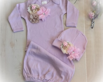 Newborn Girl Take Home Outfit, Layette Gown Cap, Newborn Gown, Lavender Baby Girl Coming Home Outfit