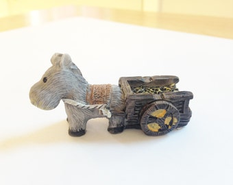 Miniature Donkey With Cart Figurine, Terrarium, Fairy Garden, Art Project Supply