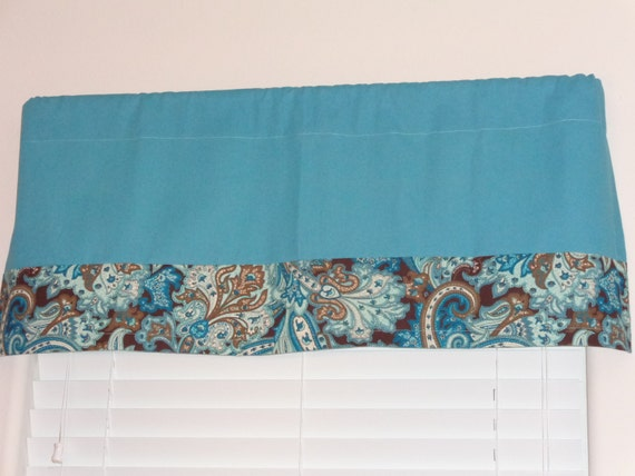 Items Similar To Turquoise Blue Valance Curtain Solid And Print Duck Fabric 17 X 42 3 Rod