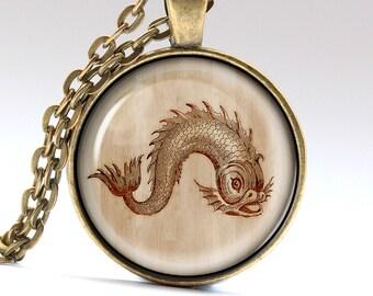 Fish Necklace, Marine Jewelry, Nautical Pendant, Art Charm    LG1073